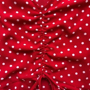 Tops - Red polka dot ruched blouse